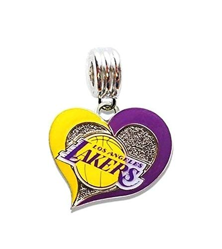 - Heavens Jewelry LA Los Angeles Lakers Basketball Team Heart Charm Slider Pendant for Your Necklace European Charm Bracelet (Fits Most Name Brands) DIY Projects ETC