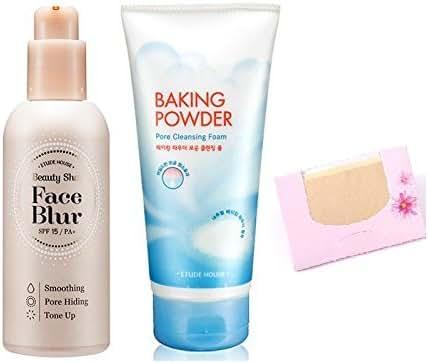 BUNDLE - Etude House Beauty Shot Face Blur + Etude House Baking Powder Pore Cleansing Foam + SoltreeBundle Natural Hemp Paper 50pcs