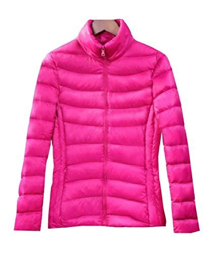 Gocgt Womens Packable Ultra Light Weight Short Down Jacket Coats Rose Red