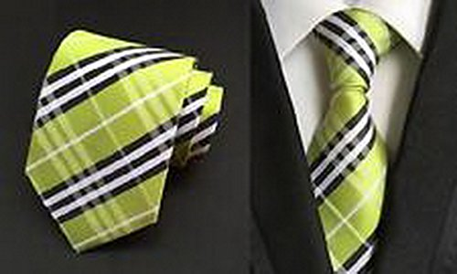 [Calvinci - Classic Checks Green Black White JACQUARD WOVEN 100% Silk Men's Tie Necktie TGIN 120145] (Classic Playboy Bunny Costume Black)