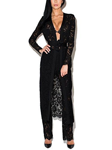 S Curve Women's Long Sleeves Lace Cape and Empire Waist (Black Empire Jacket)