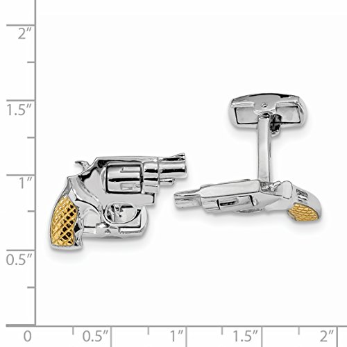 ICE CARATS 925 Sterling Silver Gold Plated Revolver Moveable Barrel Cuff Links Mens Cufflinks Link Fine Jewelry Dad Mens Gift Set by ICE CARATS (Image #3)