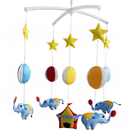 Baby Toys, Rotatable Crib Mobile, Super Cute Decor [Circus and Elephant]