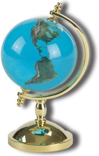 Desktop Paperweight Spinning Globe, Aqua Crystal Earth Sphere, 22k ...