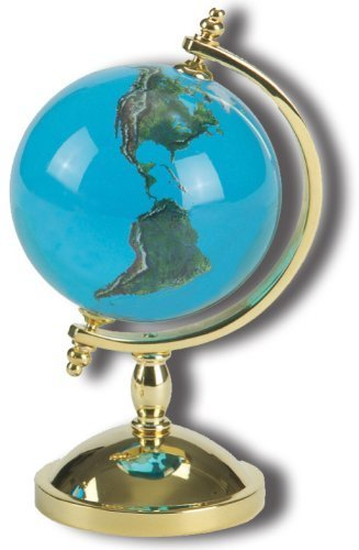 Shasta Visions Spinning Globe Paperweight, Earth Marble 2-Inch Diameter Recycled Glass Orb and 22kt Gold-Plated Marble Stand 4 Inches (Art Glass Sculpture Award)