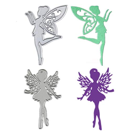 WarmShine 2 Pack Fairy Cutting Dies Carbon Steel Handmade DIY Stencils Template Embossing for Card Scrapbooking Craft