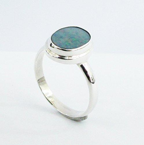 handmade 925 sterling silver ring with 9 * 11 mm genuine australian doublet opal, natural opal ring, fire opal ring size (Natural Doublet)