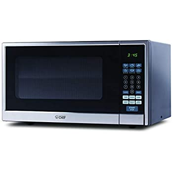 Image of Commercial Chef CHCM11100SSB Countertop Microwave, 1.1 Cubic Feet, Black With Stainless Steel Trim