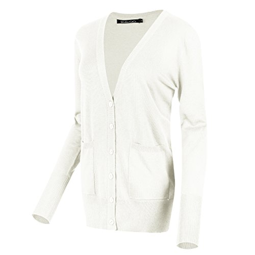 Urban CoCo Women's Long Sleeve Button Down Basic Cardigan Sweater (L, ()