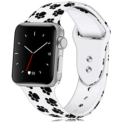 KOLEK Floral Band Compatible for Apple Watch 42mm 44mm, Soft Silicone Sport Bands Compatible for iWatche Series 1/2/4/3, S/M