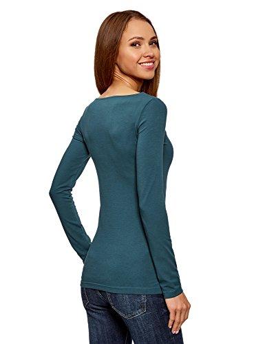 Donna oodji 6c00n Verde Collection Shirt con Maniche T Lunghe Sx5xwq1O