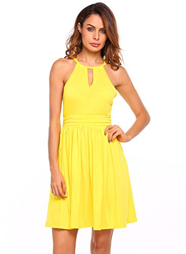 Women Sleeveless V Neck Empire Waist Fit and Flare Cocktail Dress,Yellow,S