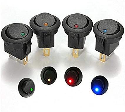 Blue 12V Switch Auto Boat Micro Button Rocker Switch LED Light Illuminated Car Boat Switch Cat Eye 20A 12V DC On//Off Round