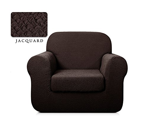 TOYABR 2-PieceSeersucker JacquardStretchyFabricDinning Room SofaSlipcoversFittedSofaProtector (Chair, Chocolate)