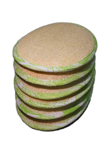 6Pack (Large 6.3x4.3 inches) 100% Natural Exfoliating Loofah Pads Luffa and Terry Cloth Materials Loofa Sponge Scrubber Brush Close Skin For Men and Women When Bath Spa and Shower
