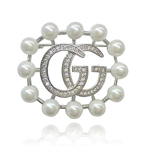 - COOLSIR GG Brooch Pin, Flower Natural Freshwater Pearl g Brooches, Wedding Cocktail Etc Party Dress Wear Brooches for Women Silver