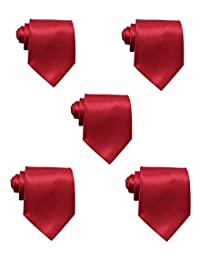 Mens Solid Satin 3.9 Inch Wide Formal Necktie Pack 5 For Wedding By JAIFEI (Burgundy)
