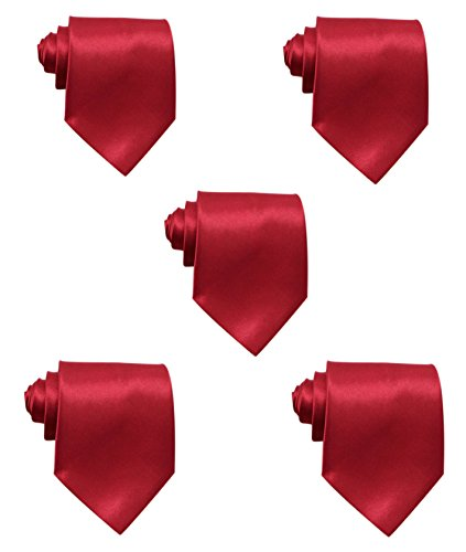 - Mens Solid Satin 3.9 Inch Wide Formal Necktie Pack 5 For Wedding By JAIFEI (Burgundy)