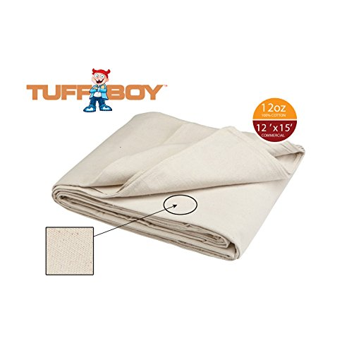 TUFFBOY 12 OZ. Commercial Grade Cotton Canvas All Purpose Drop Cloth 12 Ft. X 15 Ft. by TuffBoy