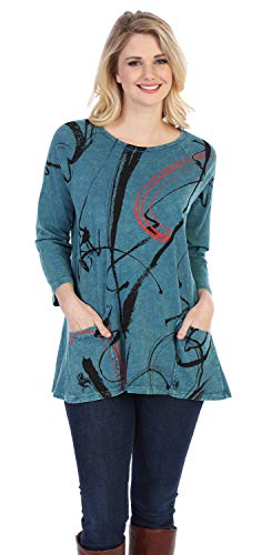 Jess & Jane Matilda, Mineral Washed, Cotton Sublimation, Patch Pocket Tunic Top