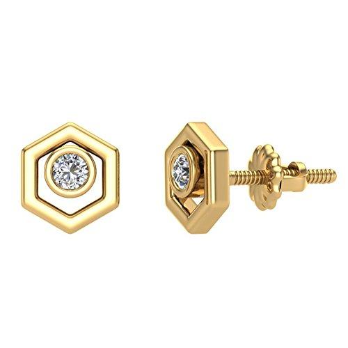 Diamond Earrings Hexagon Shape Studs 10K Yellow Gold - Bezel Setting Screw Back Posts (0.10 carat total)