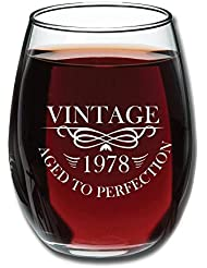 40th Birthday 15oz Stemless Wine Glass- Vintage Aged To Perfection 1978 - Unique Anniversary Gift Idea for Best Friend, Mom, Dad, Wife, Husband, Sister, Women, Men - Perfect Gifts from Son or Daughter