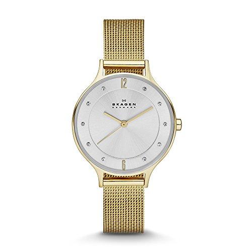 Skagen Women's Anita Quartz Stainless Steel Mesh Casual Watch, Color: Gold-Tone (Model: SKW2150)