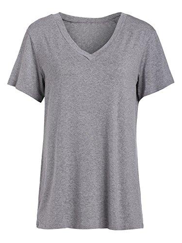 (Floerns Women's V Neck Short Sleeve Casual T-shirt Medium Grey)