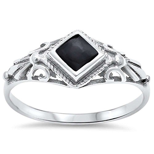 Sterling Silver Black Onyx Ring Sizes 7