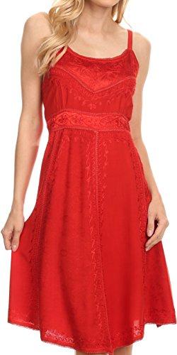 Batik Cotton Skirt - Sakkas 161117 - Markay Short Mid Length Spaghetti Strap Sleeveless Embroidered Batik Dress - Red - S/M