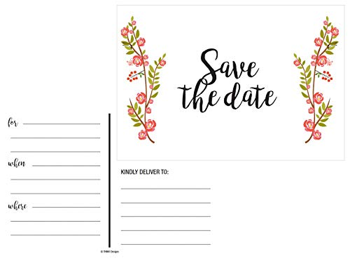 50 Save The Date Cards Floral Rustic Rose for Weddings. Before Sending Invitations to Your Wedding, Anniversary, Bridal Shower, Birthday or Engagement Party use Postcards Announcements Event Invites -