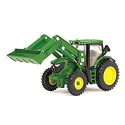 John Deere Ertl 6210R Toy Tractor with Front Loader (1:16 Scale)