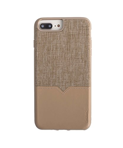 Evutec Case Compatible with iPhone 6 Plus/6s Plus/7 Plus/8 Plus, Northill Series Premium Leather + TPU Shockproof Interior Drop Protective Case-Tweed/Tan (AFIX+ Car Vent Mount Included)