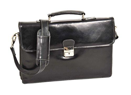 Leather Briefcase Slimline Organiser Laptop Executive Bag HOL7141 Black