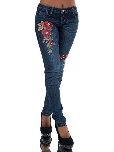 FASHION BOUTIK jeans bleu avec fleurs brodes et perles femme sexy taille 34 36 38 40 42 (w38)