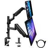 Dual Arm Monitor Stand, Full Motion Adjustable Gas Spring Monitor Mount Riser