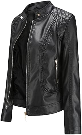 Women's Leather Biker Jacket Punk Trendy Short Coat for Autumn, Spring