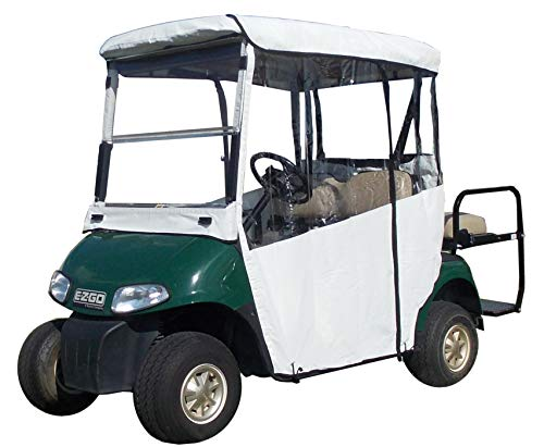 "White Golf Cart Cover – 3-Sided ""Over-The-Top"" Cart Cover for Club Car Precedent –Drivable Golf Cart Cover Enclosure – Marine Grade Vinyl – White Rain Cover for Golfers– Fits Golf Bags, Utility Box -  DOORWORKS GOLF CART ENCLOSURES"
