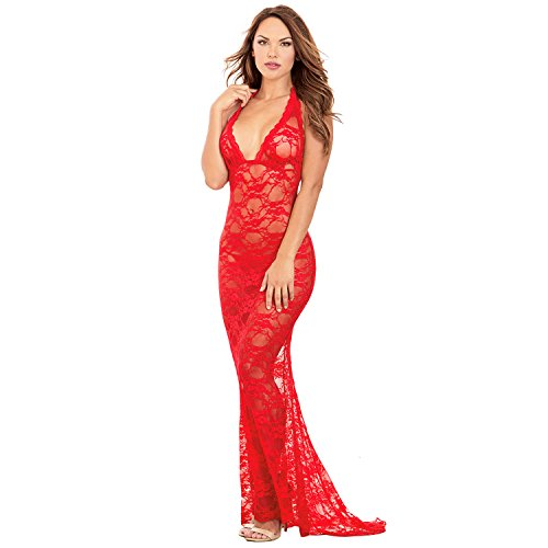 QueenMoon Sexy Lingerie For Women For Sex Long Chemise Long Gown Lace Long Dress Mermaid Evening Dress, Red (Lace Long Gown Lingerie)