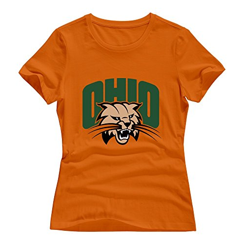Orange 100% Cotton Ohio Bobcats T Shirts For Sweetheart Size -