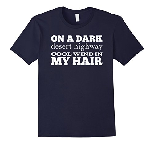Mens Eagles Band Shirt | On a Dark Desert Highway Shirt Large Navy Eagle Band