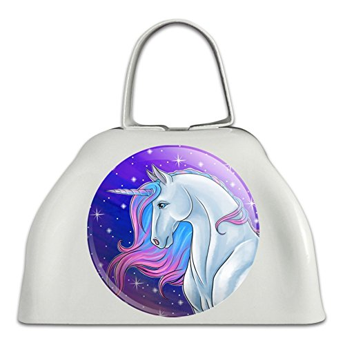Majestic Unicorn Pink Purple Blue White Metal Cowbell Cow Bell Instrument ()