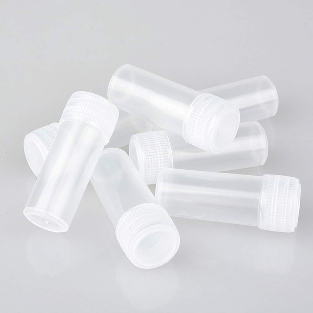 VinBee 150 Pcs Plastic Bottles, Mini Plastic Sample Bottles 5 ml Small Bottles Clear Storage Case with Lid for Lab Test, Liquid, Medicine by VinBee
