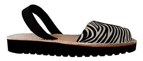 menorquínas avarcas Zebra con Avarcas … 2 Zebra negra coin forme Menorquinas cm tira Plate et léopard 5 TPwfxPRqOv
