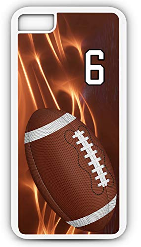 iPhone 7 Plus 7+ Phone Case Football F029Z by TYD Designs in White Rubber Choose Your Own Or Player Jersey Number 6