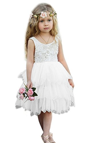 Syktkmx Flower Girl Dress For Wedding Pageant Baby Girls Princess Lace Tulle Layered Tutu Dress (2-3 Years, A-White)