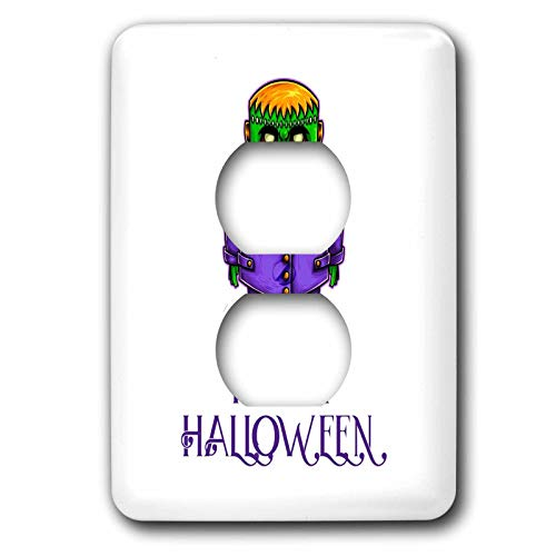 3dRose Alexis Design - Funny Characters - Green monster in a purple suit. A text Happy Halloween. Funny decor - Light Switch Covers - 2 plug outlet cover (lsp_295038_6)