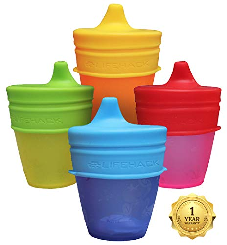 - Sippy Cup Lids by MrLifeHack - (4 Pack) - Makes Any Cup Or Bottle Spill Proof - 100% BPA Free Leak Proof Silicone - Perfect for Toddlers & Babies