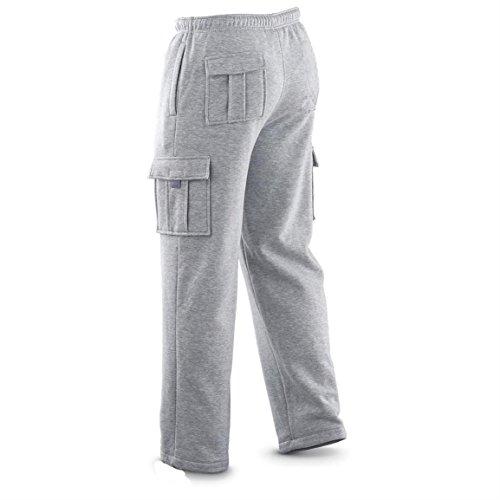 Winter Tex New Men's Cargo Sweat Pants Track Fleece Heavy Weight S-XL (L, Light Gray)