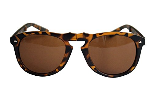 New Unisex Wayfarer Folding Style Plastic Frame Sunglasses (Tortoise Shell & Gold Frame Brown - New Shell Wayfarers Tortoise